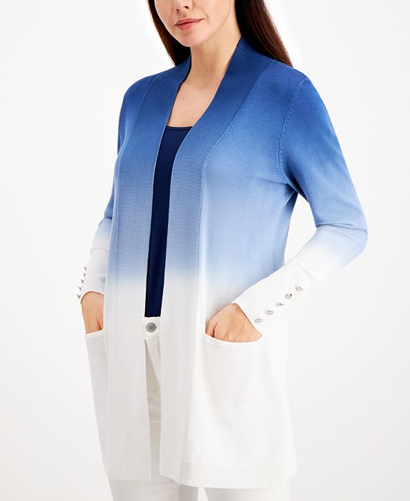 JM Collection Dip-Dyed Button-Trimmed Cardigan, Created for Macy's