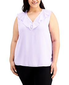 Plus Size Ruffled V-Neck Chiffon Top