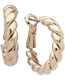 "Gold-Tone Small Twisted Tube Hoop Earrings, 0.8"""