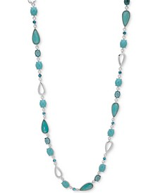 """Silver-Tone Stone & Crystal 42"""" Statement Necklace"""
