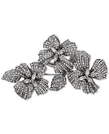 Silver-Tone Crystal Pavé Flower Pin