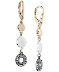 Tri-Tone Crystal Ring Drop Earrings
