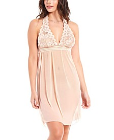 Women's Chloe Halter Babydoll Chemise Nightgown, Online Only