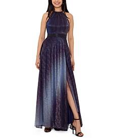 Petite Metallic Ombré Gown