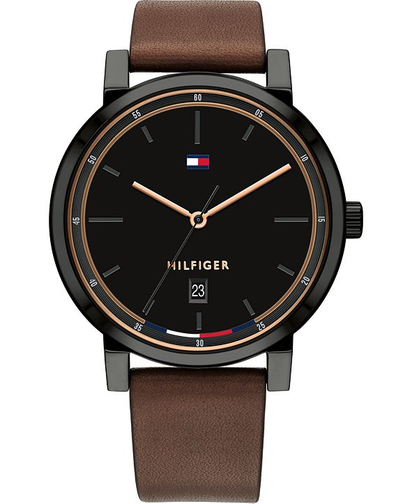 Tommy Hilfiger Men's Brown Leather Strap Watch 43mm