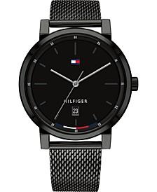 Men's Black Stainless Steel Mesh Bracelet Watch 43mm, Created for Macy's