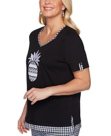 Petite Checkmate Embroidered Pineapple Top