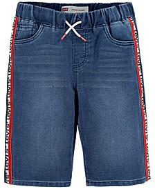 Big Boys Stretch Logo-Tape Denim Jogger Shorts