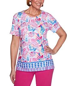 Petite Laguna Beach Printed Embellished Top