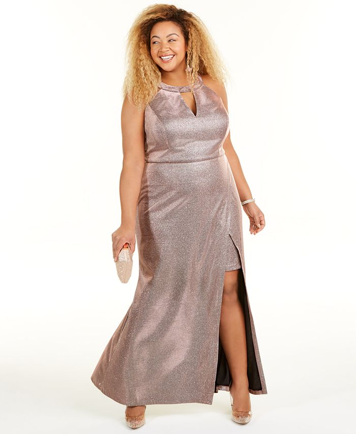Morgan & Company - Trendy Plus Size Faux-Wrap Glitter Dress