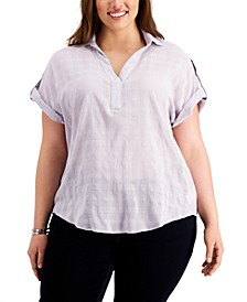 Plus Size Cotton Plaid Roll-Tab Shirt