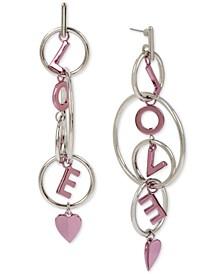 Two-Tone Love Drop Earrings