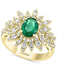 EFFY® Emerald (1-1/6 ct .t.w.) & Diamond (3/4 ct. t.w.) Statement Ring in 14k Gold
