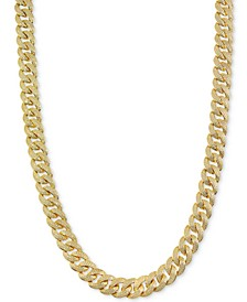 "Men's Cubic Zirconia Curb Link 24"" Chain Necklace in 14k Gold-Plated Sterling Silver"