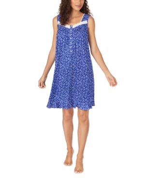 Eileen West LACE-TRIM FLORAL-PRINT NIGHTGOWN