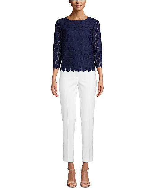 Anne Klein 3/4-Sleeve Textured Top
