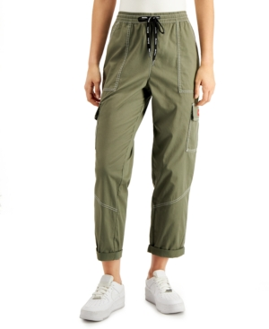 Dickies Juniors' Cropped Twill Cargo Pants In Light Olive