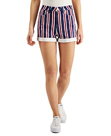 Juniors' Americana Striped Denim Shorts