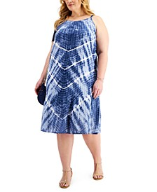 Plus Size Tie-Dyed Drop-Waist Dress, Created for Macy's