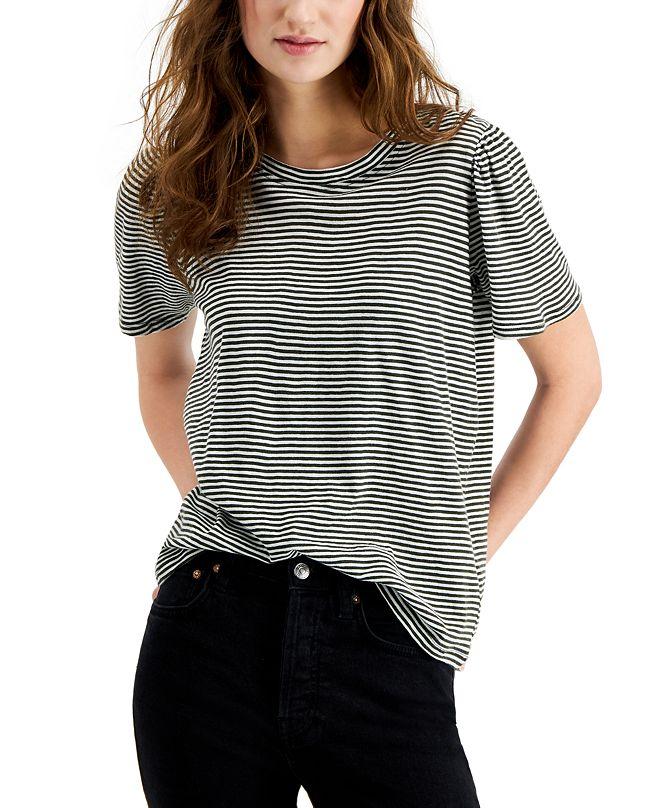 Lucky Brand Stripe Puff-Sleeve T-Shirt