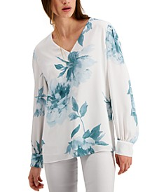 Floral-Print Pintucked Top, Created for Macy's
