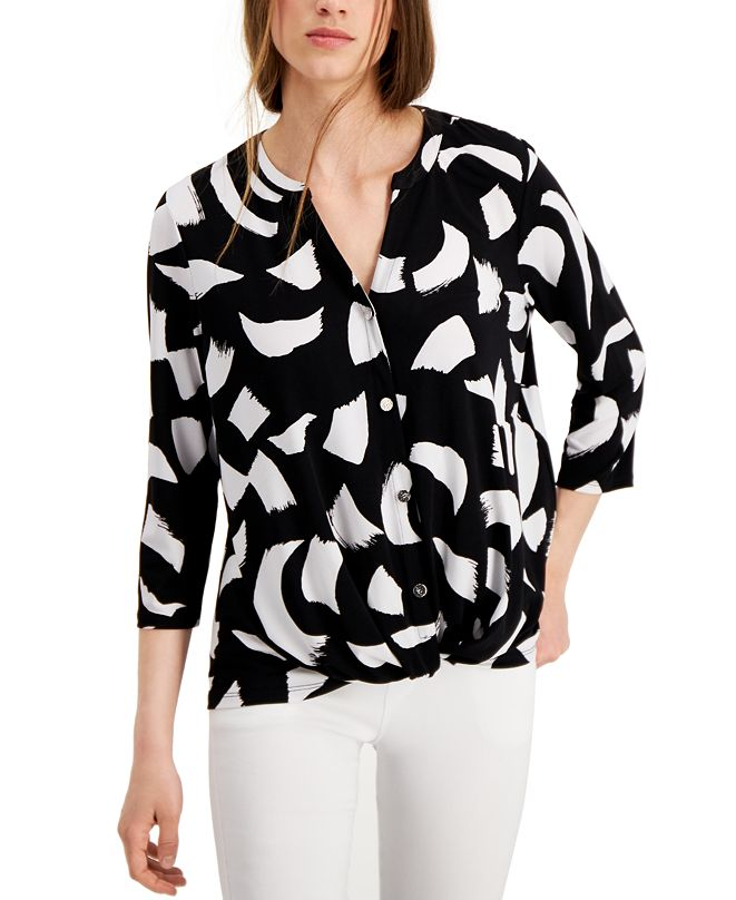 Alfani Twist-Front Printed Blouse, Created for Macy's