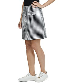 Gingham-Print Button-Front Skirt