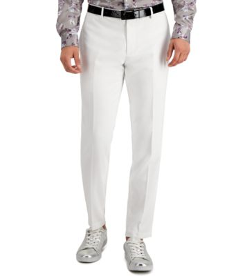 Sean John Classic Fit Brown Donegal Tweed Flat Front Pre-Hemmed Dress Pants