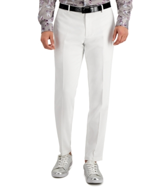 60s – 70s Mens Bell Bottom Jeans, Flares, Disco Pants Inc Mens Slim-Fit Stretch White Solid Suit Pants Created for Macys $34.75 AT vintagedancer.com