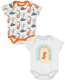 Baby Boys 2-Pk. Dinosaur-Print Cotton Bodysuits