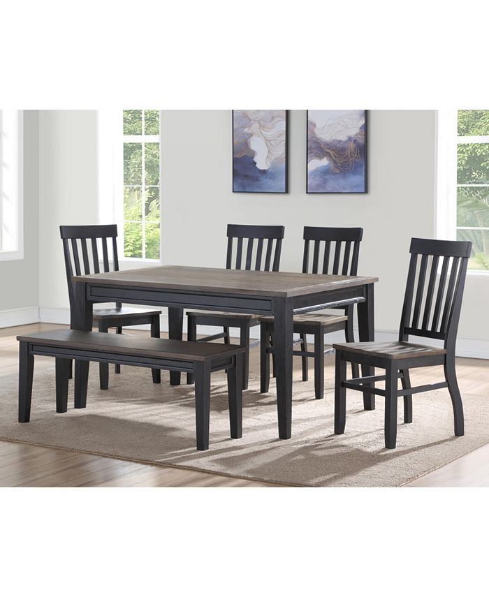 Steve Silver - Raven Noir 6-Pc. Dining Set, (Dining Table, 4 Side Chairs & Bench)