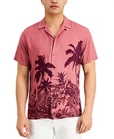 INC Men's Regular-Fit Tonal Tropical-Print Camp Shirt, Created for Macy's