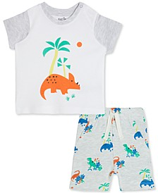 Baby Boys 2-Pc. Cotton Dinosaur-Print T-Shirt & Printed Shorts