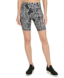 Sport Snake-Print High-Waist Bike Shorts