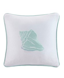"Coastline Embroidered 16"" Square Decorative Pillow"