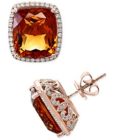 EFFY® Madera Citrine (17-1/10 ct. t.w.) & Diamond (5/8 ct. t.w.) Stud Earrings in 14k Rose Gold