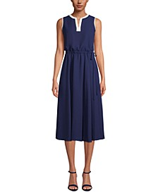 Split-Neck Drawstring-Waist Dress