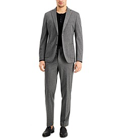 Men's Slim-Fit Stretch Gray Knit Suit Separates
