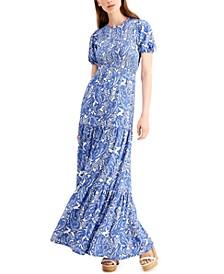 Paisley Smocked Midi Dress, Regular & Petite