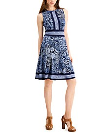 Mixed-Paisley Dress, Regular & Petite