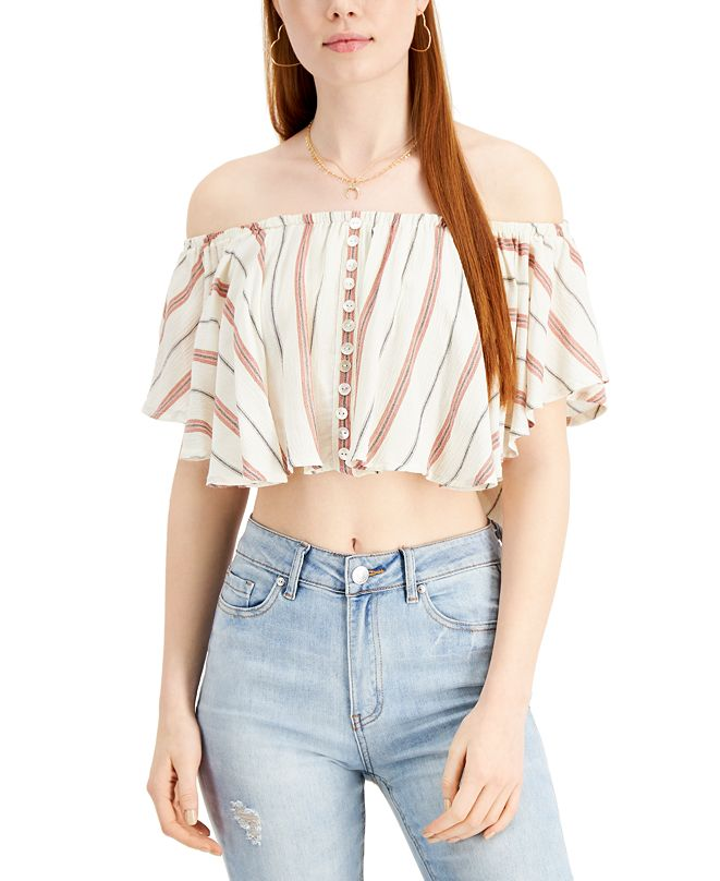 Angie Juniors' Striped Off-The-Shoulder Crop Top