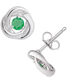 Emerald Love Knot Stud Earrings (1/2 ct. t.w.) in Sterling Silver