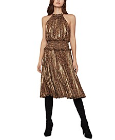 Leopard-Print Crinkle Dress