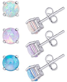 3-Pc. Set Imitation Opal Stud Earrings (1-5/8 ct. t.w.) in Sterling Silver