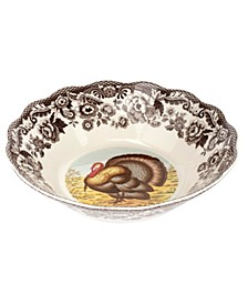 Woodland Turkey Daisy Serving Bowl