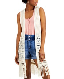 Juniors' Fringed Vest