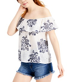 Juniors' Embroidered Off-The-Shoulder Top
