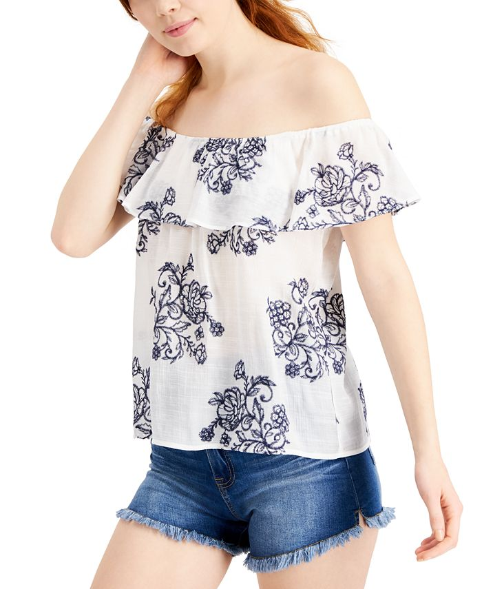 BCX - Juniors' Embroidered Off-The-Shoulder Top