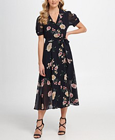 Floral Puff Sleeve Midi Shirtdress