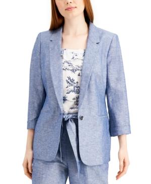 Chambray Linen One-Button Blazer